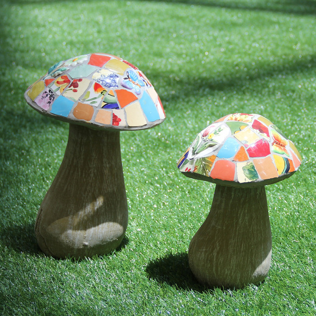 € 139.87 10% de réduction|Pelouse parc Villa jardin en céramique mosaïque  cour champignon décoration résistant au soleil imperméable créatif ...