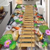 Wooden Bridge Lotus Carp Stone Bathroom Wall Murals Flooring Custom Stickers 3D Murals HD Non Slip