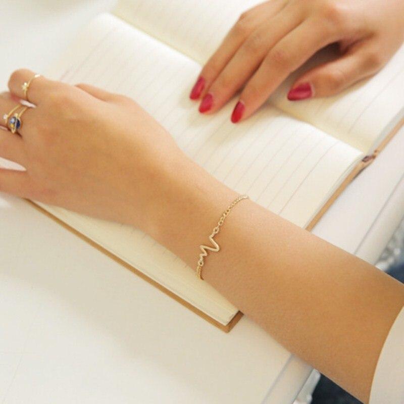 New-Listing-Fashion-Simple-personality-design-ECG-Figure-lightning-bracelet-couple-heart-beat-frequency-bracelet-1pcs (1)