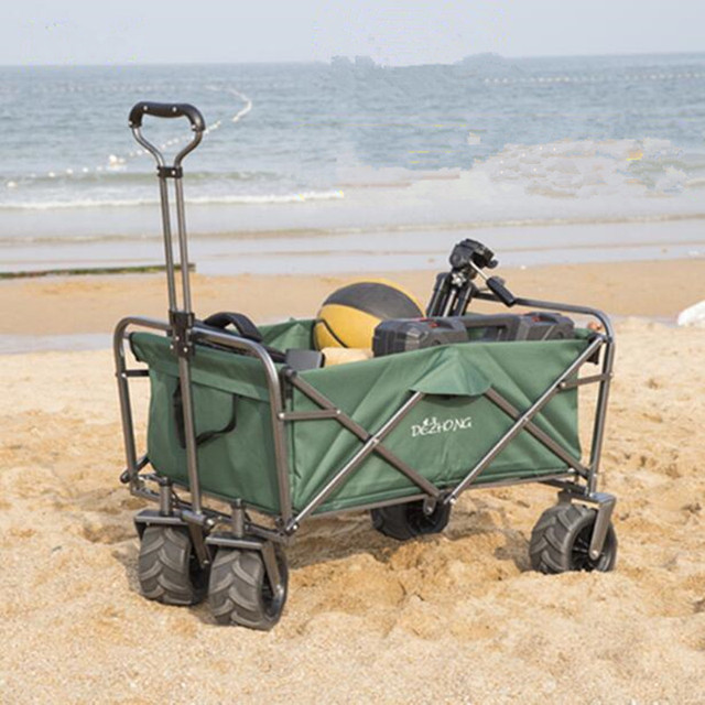 Charming Sports Collapsible Folding Utility Wagon Collapsible Garden Cart Beach  Shopping Cart100L Large Capacity Loading75kg Pet Stroller
