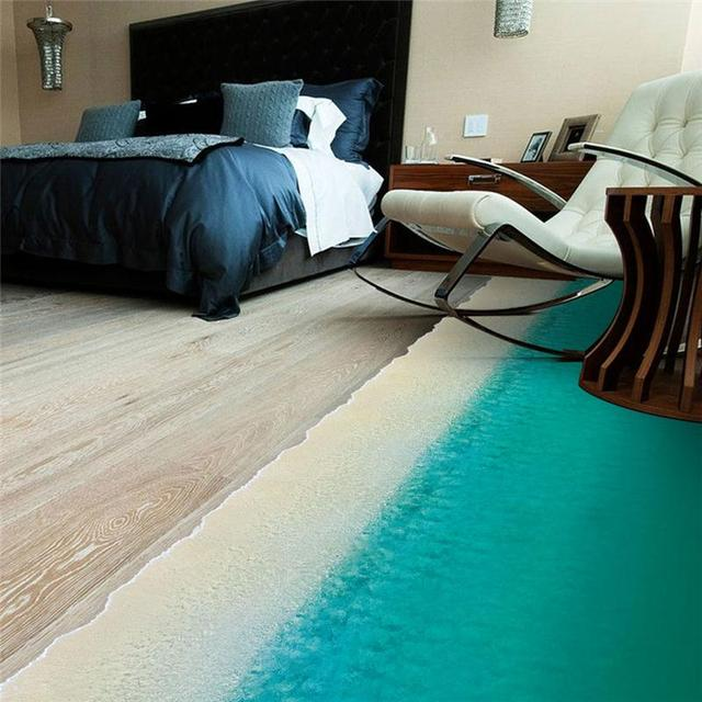 sea beach floor stickers wall decoration 1474. home 3d decals print ground room mural art landscape scenery creative poster 4.0