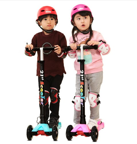 A01  21st Scooter Flash Wheel Children 3-12 Years Outdoor Toys Baby Tricycle Four Wheels Kid Bike Slide Ride On Toy