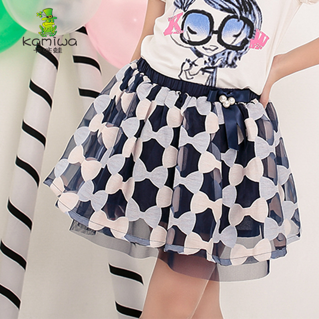 2016 Bowknot Mesh Ball Gown Princess Brand Blue Girls Skirts Baby Teenage Chiffon Summer Style Children Clothing Kids Clothes