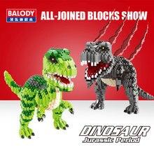 Balody dinozor Tyrannosaurus Rex Velociraptor hayvan canavar 3D modeli DIY elmas Mini yapı taşları oyuncak çocuklar için hiçbir kutu