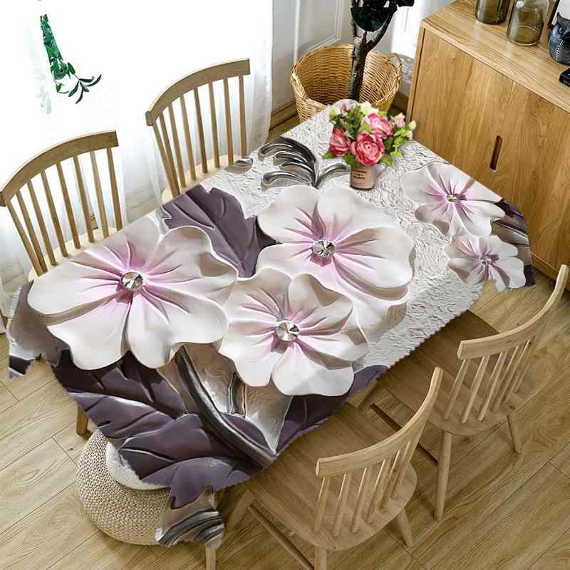 8 Party Home Kitchen Tablecloth Creative Flower Lotus Design
