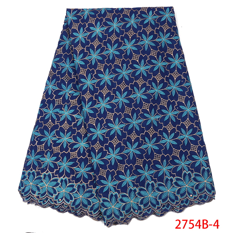 High Quality Swiss Cotton Lace Africa Lace 2019 Blue Nigerian Lace Fabrics Dry Lace With Stones For Women KS2754B-4