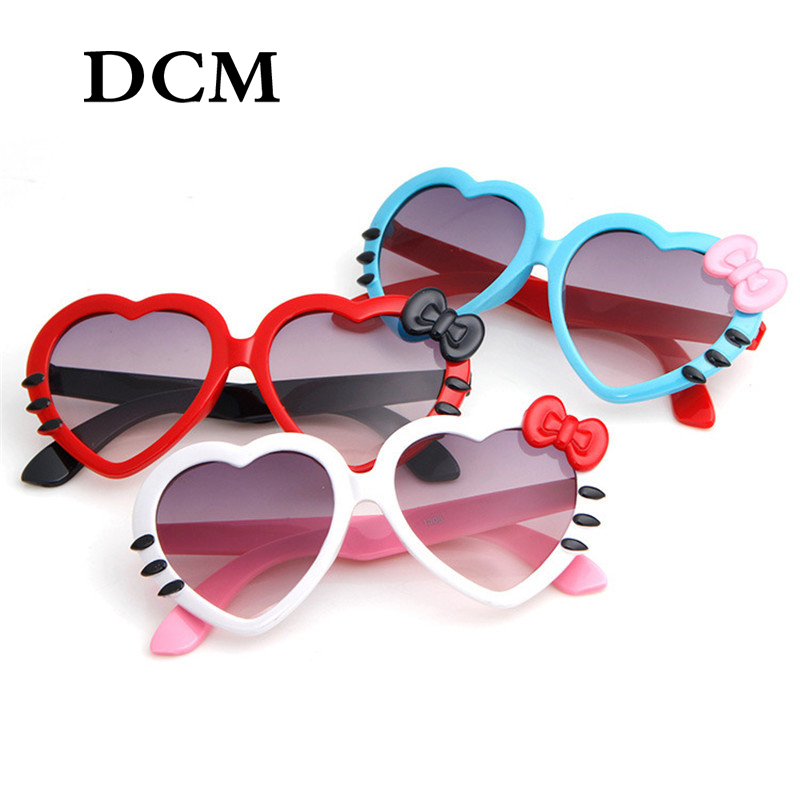 DCM Fashion Cute Heart Bow Cat Sunglasses Summer Cartoon Eyeglasses Eyewear For Kids Girls Boys Child Sun Glasses UV400
