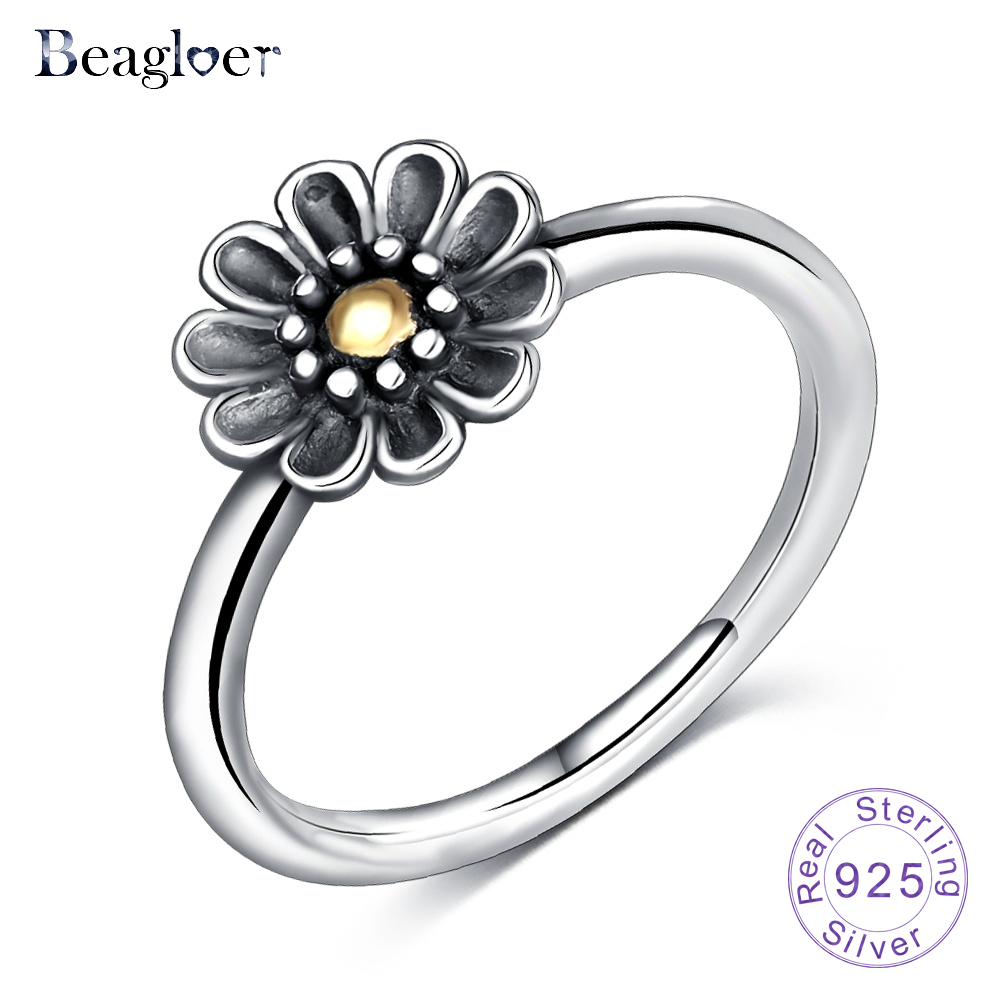 Beagloer 925 sterling silver stackable ring dazzling daisy flower beagloer 925 sterling silver stackable ring dazzling daisy flower rings for women wedding jewelry birthday gift psri0080 b in wedding bands from jewelry izmirmasajfo