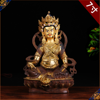old # HOME family  Talisman #Tibet Buddhism full Gilding Yellow Jambhala Zambala gold Buddha brass statue 21CM