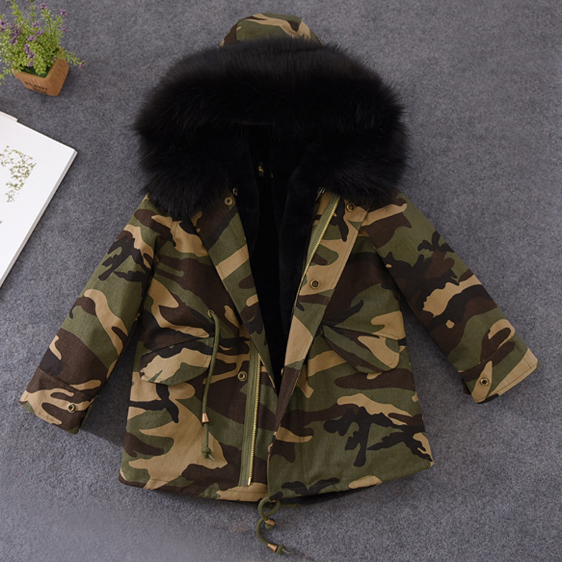 цены Fashion Boys Girls Parkas Winter Kids Jackets Coats Big Fur Collar Removable Padded Liner Children Thick Warm Hooded Outerwear