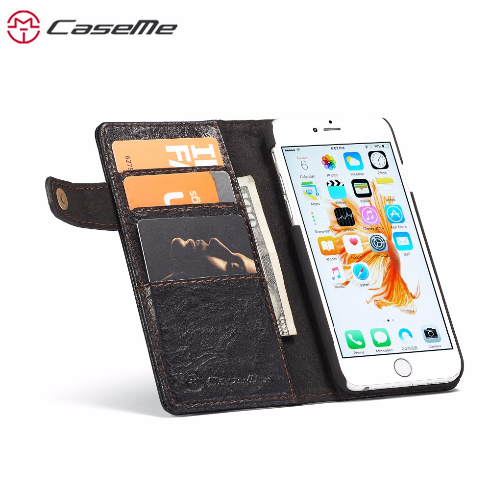For iPhone 6S Plus Stand Flip Cover 6 Plus CaseMe Luxury Genuin Leather Cases Wallet Card Slot Phone Shell For iPhone 6 Coque in Flip Cases from Cellphones Telecommunications
