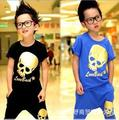 Summer 2016 new children's wear children's sport suit short sleeves sets for summer the skull designe Harem shorts boys kids
