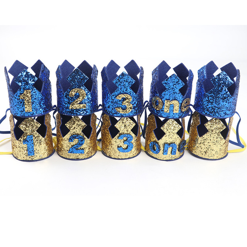Gold Blue Baby 1 2 3 Year Old Birthday Hat Glitter Prince Crown Boy Hat Baby Shower 1st Birthday Party Decoration Photo Props