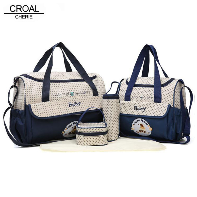 CROAL CHERIE 38*18*30cm 5pcs Baby Diaper Bag Sets changing Nappy Bag For Mom Multifunction Stroller Tote Bag Organizer cherie cherie lip balm mint