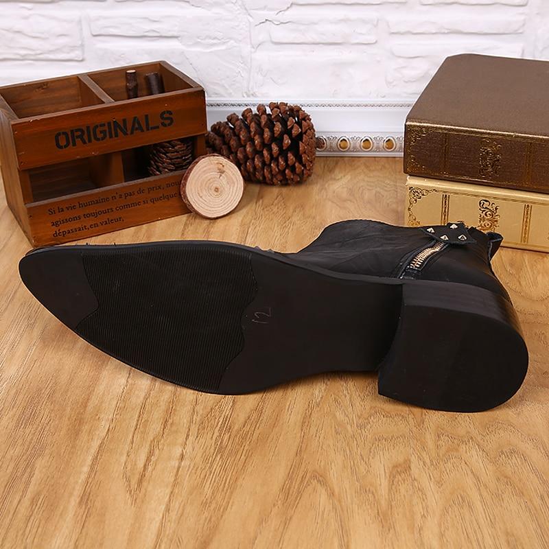 Cuero Hop Botas Hombres Tamaño Botines Los Invierno Remaches Zapatos Grande Negro Hip Genuino Otoño Masculinos De Martin Británicos Hombre Lentejuelas 8HqxxAS
