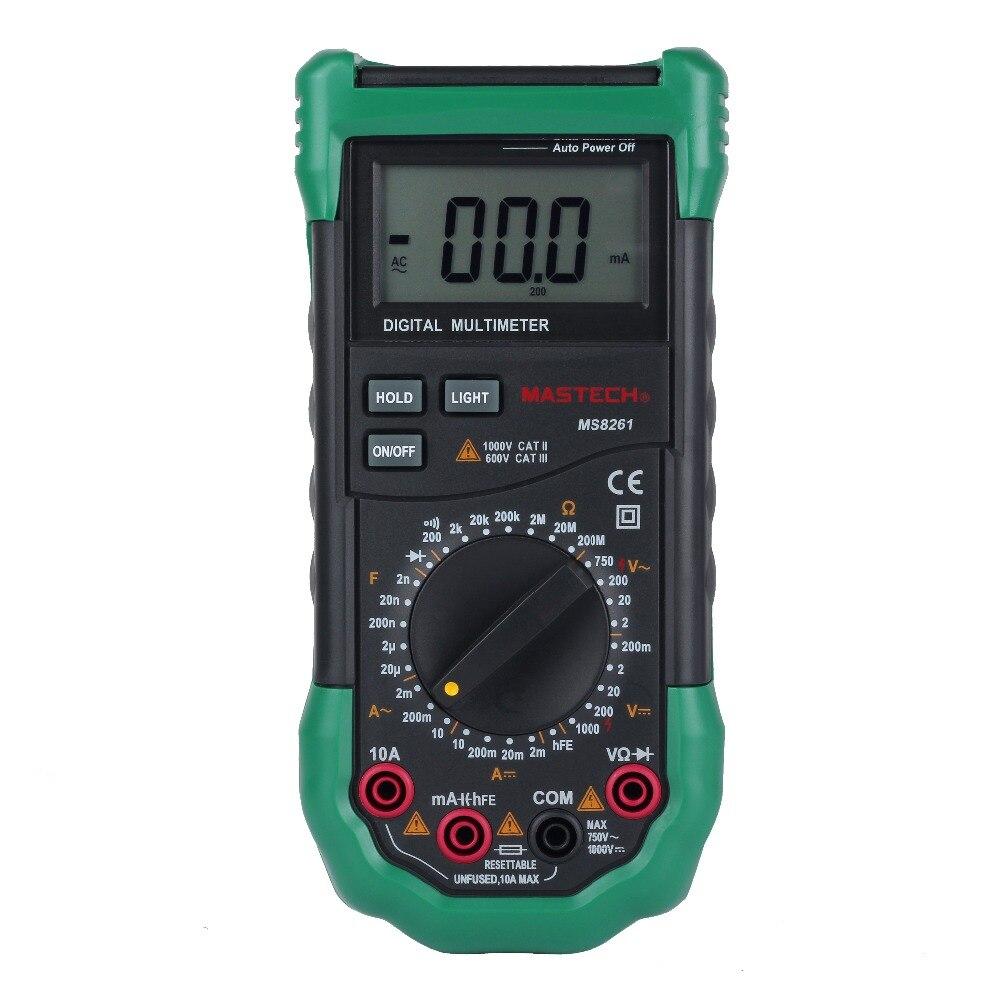 MASTECH MS8261 DMM Digital Multimeters w/ AC/DC Voltage Current Resistance Capacitance & hFE Test