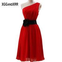 2017 Red Chiffon A Line Bridesmaid Dresses Sashes Backless One Shoulder Prom Dresses Tea Length Dresses