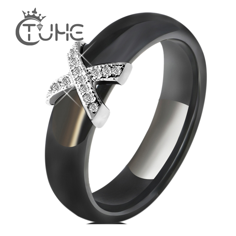 Black White Ceramic Women' s Ring With AAA Crystal 6mm Rings For Women Men Plus Big Size 10 11 12 Fashion Jewelry Trendy 2021