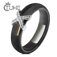 Fashion Jewelry Women Ring With AAA Crystal 6/8 mm X Cross Ceramic Rings For Women Men Plus Big Size 10 11 12 Wedding Ring Gift(China)