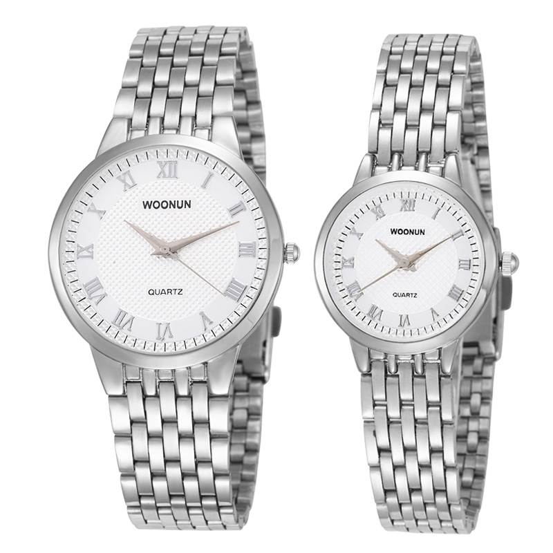 ᗚWOONUN Couple Watches Top Brand Luxury Fashion Stainless Steel ...