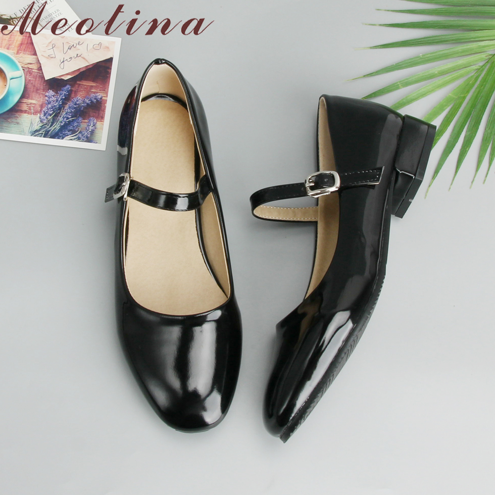 Meotina Flat Shoes Women Mary Jane Ladies Shoes Flats Fall Buckle School Shoes Ballerina Flats Footwear Black Big Size 9 10 43