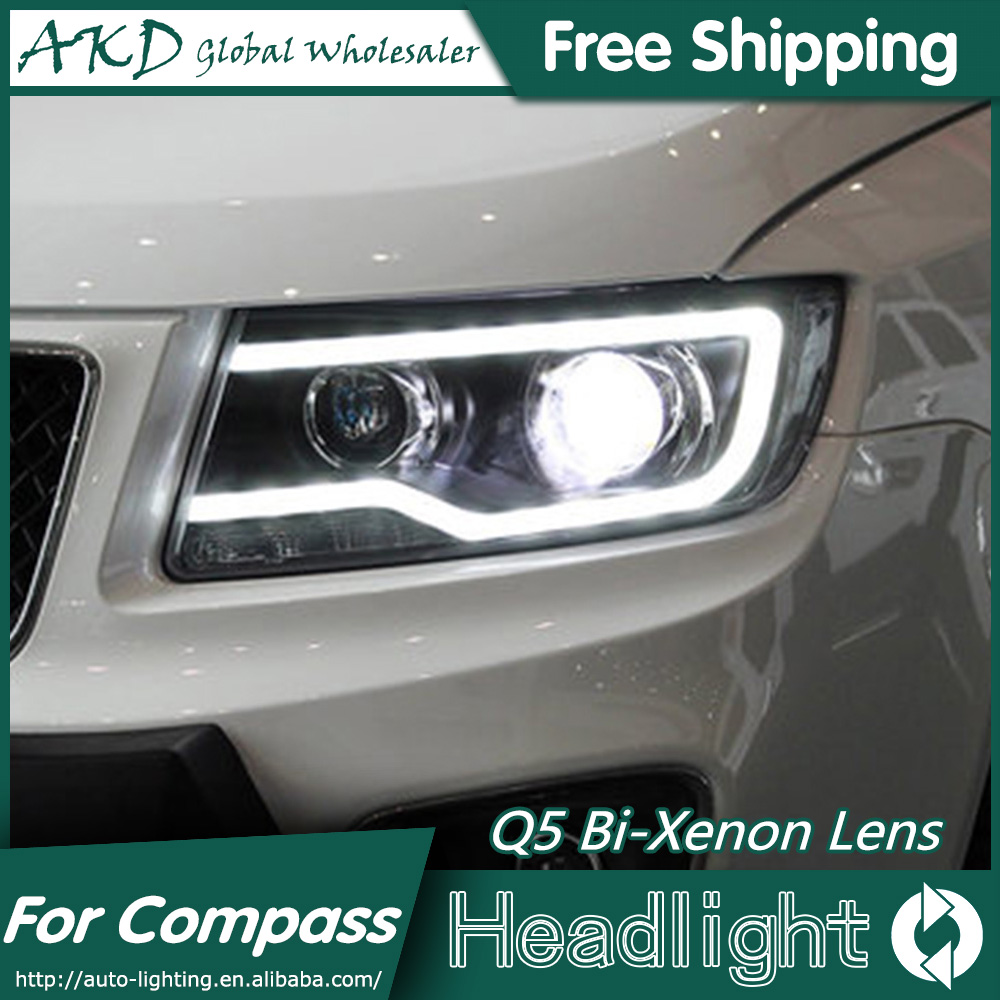 AKD Car Styling for Jeep Compass Headlights 2012-2015 Compass LED Headlight LED DRL Bi Xenon Lens High Low Beam Parking akd car styling for nissan teana led headlights 2008 2012 altima led headlight led drl bi xenon lens high low beam parking