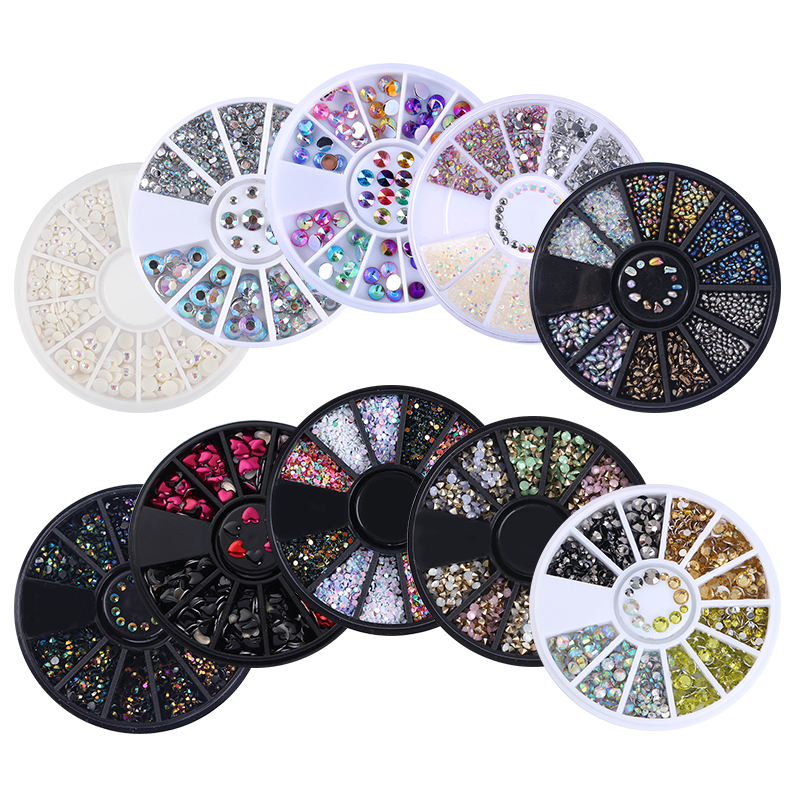 1 Box Mixed Color Rhinestones 3D Nail Decoration Metal Studs Laser Rivet Beads Resin Jelly Gems UV Gel Nail Art Charms Manicure 1 box rivet laser 3d nail decoration 4mm square nail studs manicure nail art decoration wheel