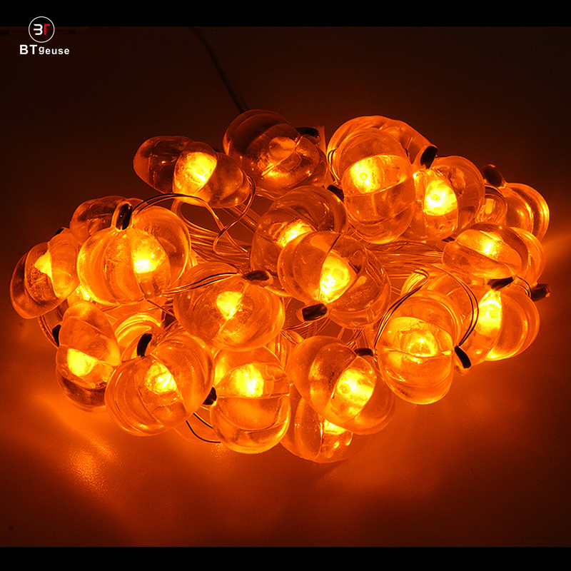 BTgeuse Pumpkin Fairy String Lights for Bedroom Holiday Party Garden Decoration 30 LED 88 Inch Warm White String Light Halloween