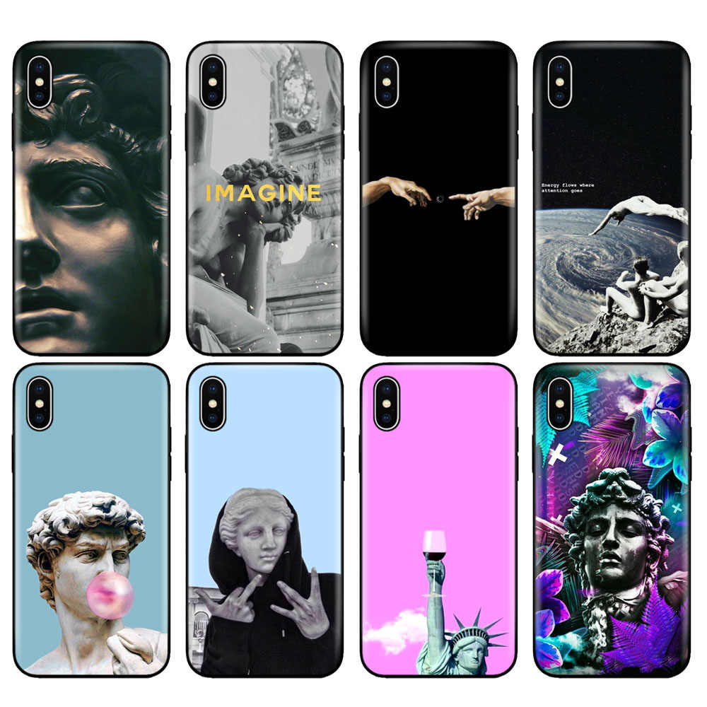 Hitam TPU Case untuk iPhone 5 5S SE 6 6S 7 8 Plus X 10 Case Silicon Cover UNTUK iPhone XR X 11 Pro Max retro Vintage Seni Patung