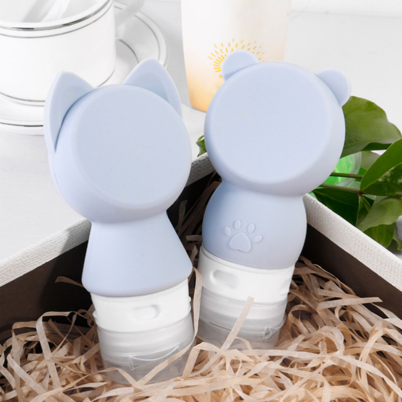 2pcs/set Empty Silicone Refillable Bottles Travel Packing Press Bottle For Lotion Shampoo Bath Container