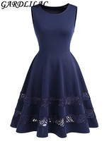 Gardlilac Real Sleeveless Short Cocktail Dress Lace See through Hemline short cocktail party dress