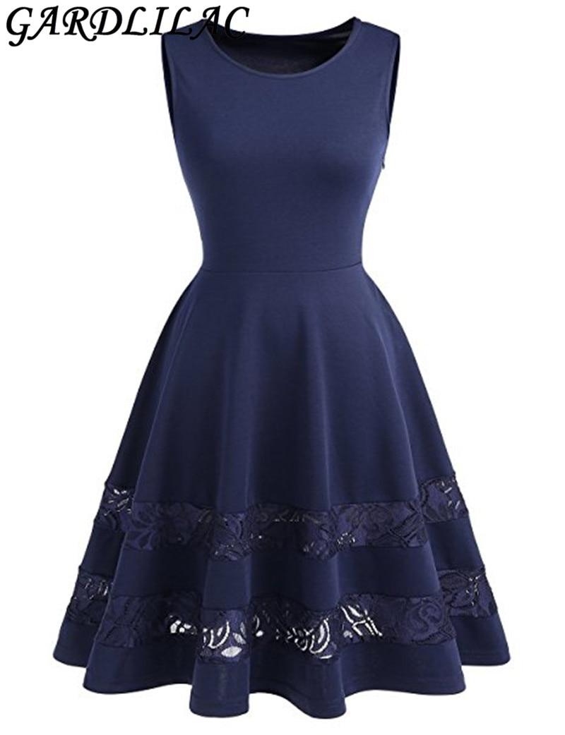 Gardlilac robe de Cocktail courte sans manches en dentelle avec ourlet transparent robe de soirée courte