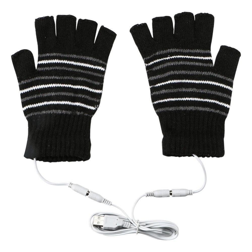 USB Heated Warm Gloves Half Finger Winter Heating Knitting Mittens Black