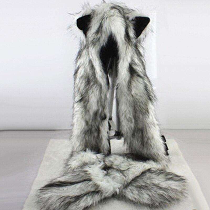 Moda mujer orejas de lobo patas de piel sintética 3 en 1 sombrero de mujer bufanda mitones invierno cálido gorro de lobo Botas de Mujer, zapatos de invierno impermeables, Botas de nieve para Mujer, Botas de invierno para mantener el calor al tobillo con tacones de piel gruesos, Botas de Mujer 2019