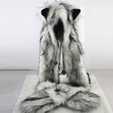 Women Fashion Wolf Ears Paws Faux Fur 3 in 1 women's Hat Sca