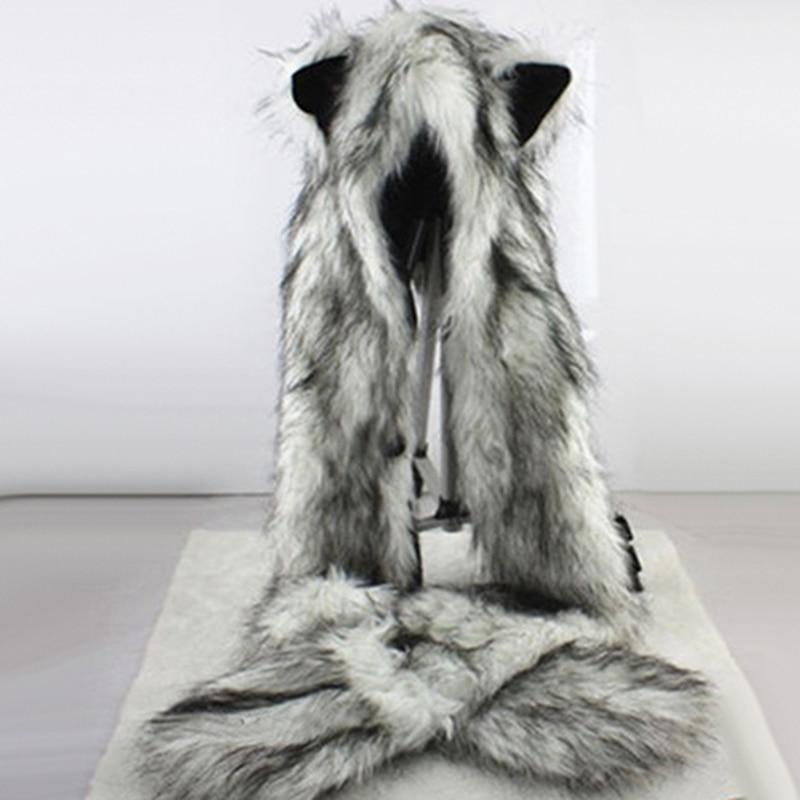 Women Fashion Wolf Ears Paws Faux Fur 3 In 1 Women's  Hat Scarf Mittens Winter Warm Cap Wolf Hat