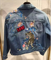 Streetwear Trendy Short Jeans Jacket Women Embroidery Tiger Pattern Hole Denim Jacket Female JA-13