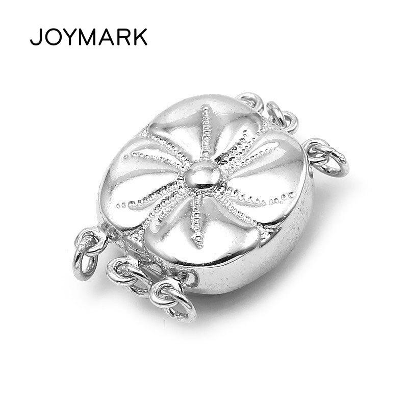 JOYMARK Lotus fleur Design 925 en argent Sterling 3 brins boîte fermoir connecteur pour bricolage perle collier bijoux faisant la SC-BC255