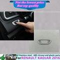 Envío libre Renault Kadjar 2016 coche palo estilo cubierta ABS Chrome frente cabeza de la lámpara marco ECO Botón del interruptor de ajuste