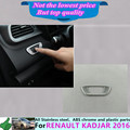 Free shipping Renault Kadjar 2016 car stick styling cover ABS Chrome front head ECO switch Button trim frame lamp
