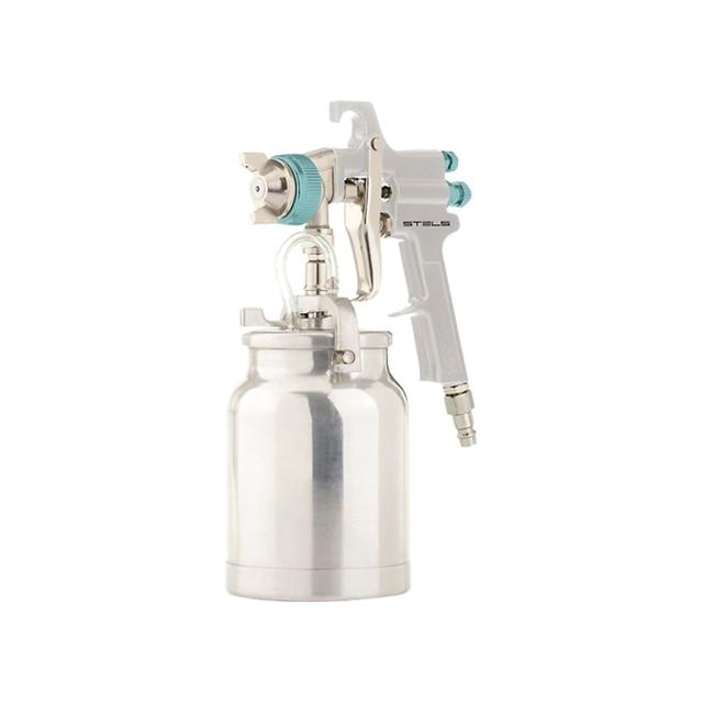 Краскораспылитель пневматический STELS 57364 (Система HP, нижний бачок, объем бачка 1000 мл, расход 180-240 мл/мин, макс.давление 4 бар, диаметр пневморазъема 1/4 дюйма, сопла 1.8 мм и 2.0 мм)