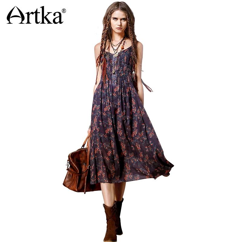 Artka женская весна новый Boho стиль Ethinic печатных квадратный воротник рукавов средний-икры широкий подол платья LA11865C
