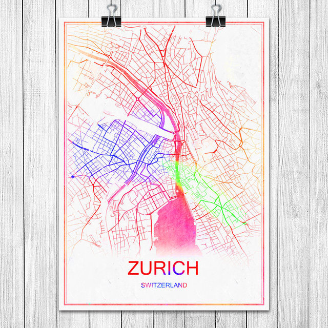 Zurich switzerland colorful world city map print poster abstract coated paper bar cafe living room home
