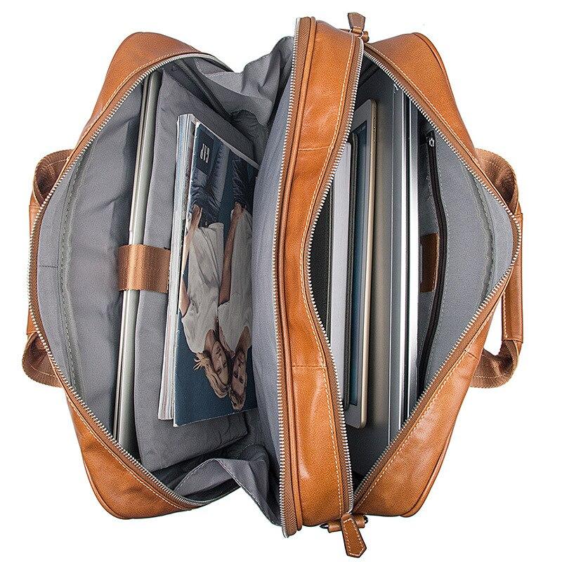 Роскошная винтажная Мужская сумка из натуральной кожи, Большой Вместительный деловой мужской портфель, сумки для ноутбука - 4