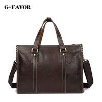 G FAVOR New Fashion Men Genuine Leather Briefcase Messenger Shoulder Bag Brands Business Handbag Men Travel