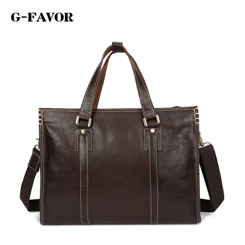 купить G-FAVOR New fashion men Genuine Leather briefcase messenger shoulder bag brands business handbag men travel bag retro briefcase по цене 13054.16 рублей