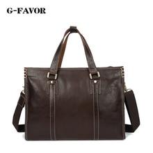 G-FAVOR 새로운 패션 남자 정품 가죽 서류 가방 메신저 어깨 가방 비즈니스 핸드백 남자 여행 가방 복고풍 서류 가방 브랜드