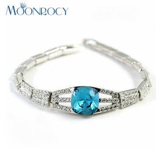 35bcef3dc850 Moonrocy liberan la azul cubic zirconia cristal austriaco pulsera joyería  al por mayor Niñas para el regalo del brazalete de las mujeres