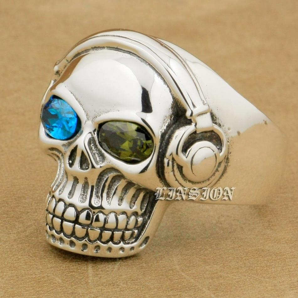 US Size 8~15 Green + Blue CZ Eyes 925 Sterling Silver DJ Skull Studio Music Headphone Mens Boys Biker Rock Punk Ring 8Y611 green cz eye 925 sterling silver skull ring mens biker punk style 8v306a us 8 15