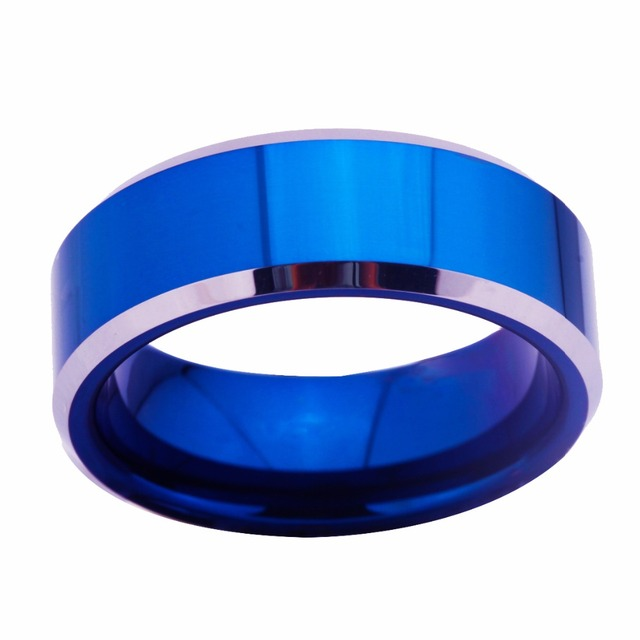 8MM Width Blue Color With Shiny Bevel Custom Blank Men's Classic Ring Tungsten Wedding Ring